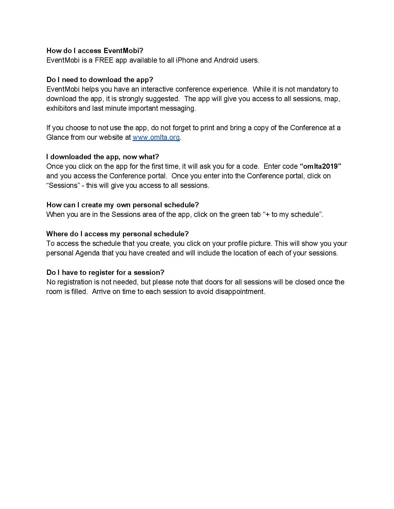 How to access EventMobi | OMLTA / AOPLV